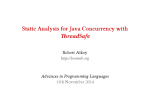 APL Lecture 15: Guest Lecture by Bob Atkey - Static Analysis for Java Concurrency with ThreadSafe