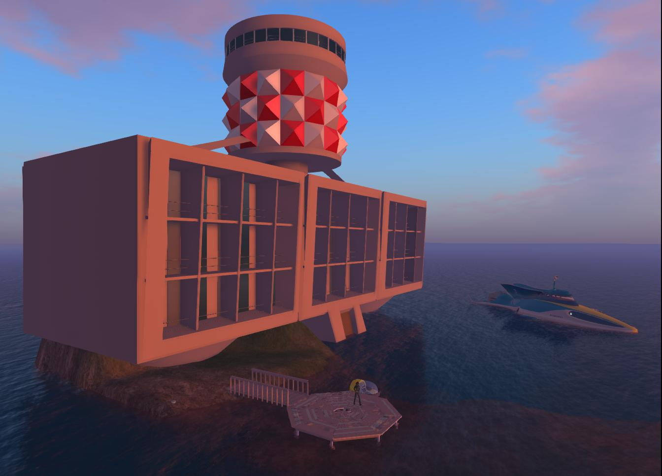 2013-10-08-Marineville-Tower-and Stingray-in-OpenSim-1