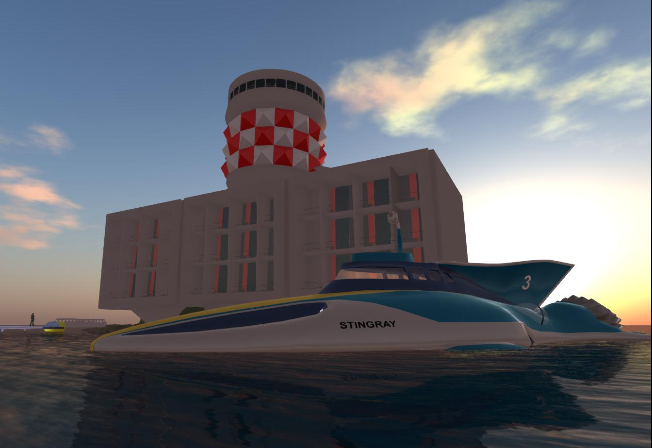 2013-10-08-Marineville-Tower-and Stingray-on-OpenSim-1