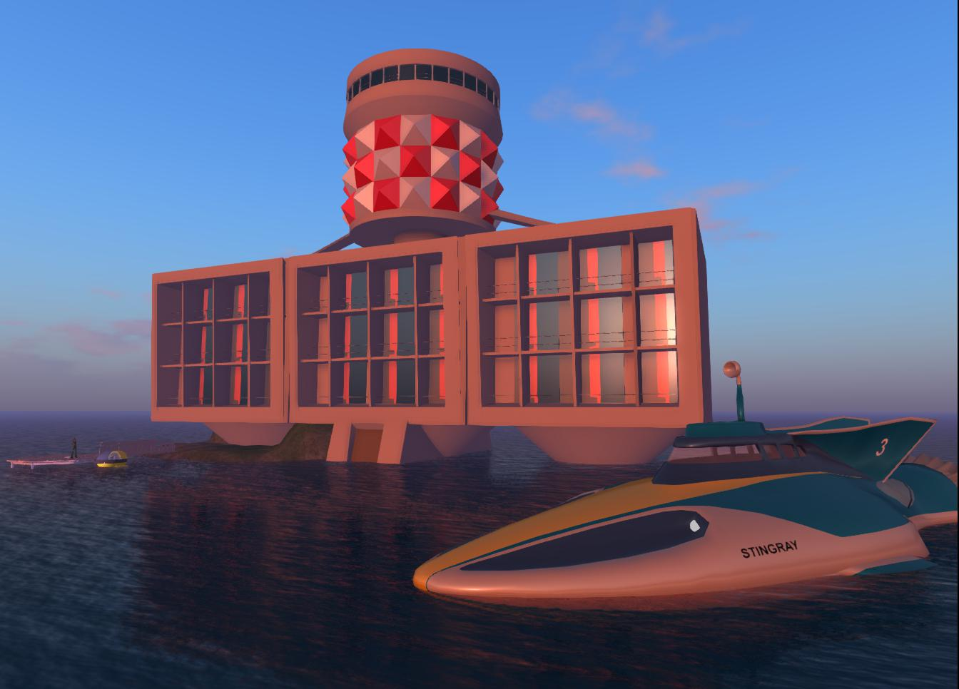 Marineville-Tower-and Stingray-in-OpenSim-2
