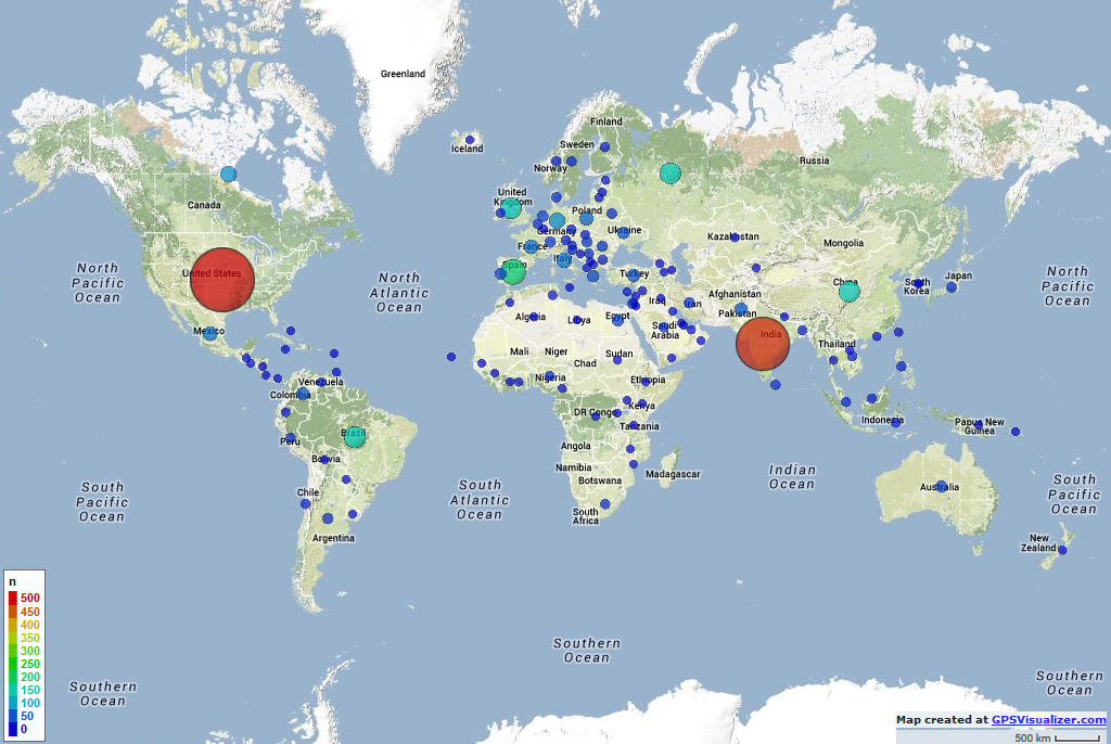 AI Planning MOOC 2014 - Participants by Country