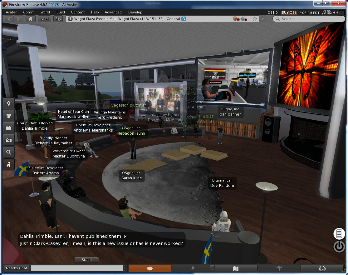 OpenSim Developers Meeting on OSGrid Wright Plaza 8-Apr-2014