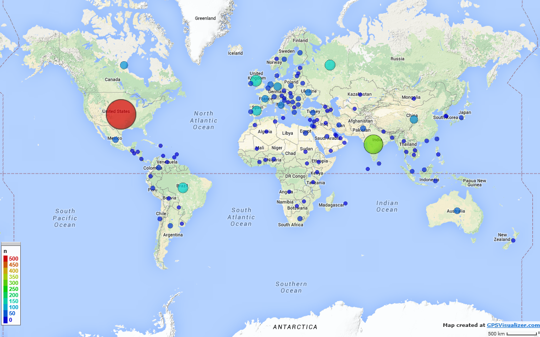 AI Planning MOOC 2015 - Participants by Country