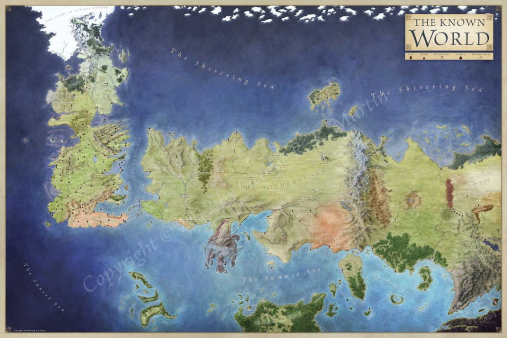 Official World Map for George RR Martin - A Song of Ice and Fire