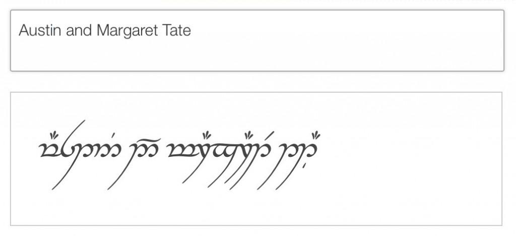 Elvish: Austin and Margaret Tate