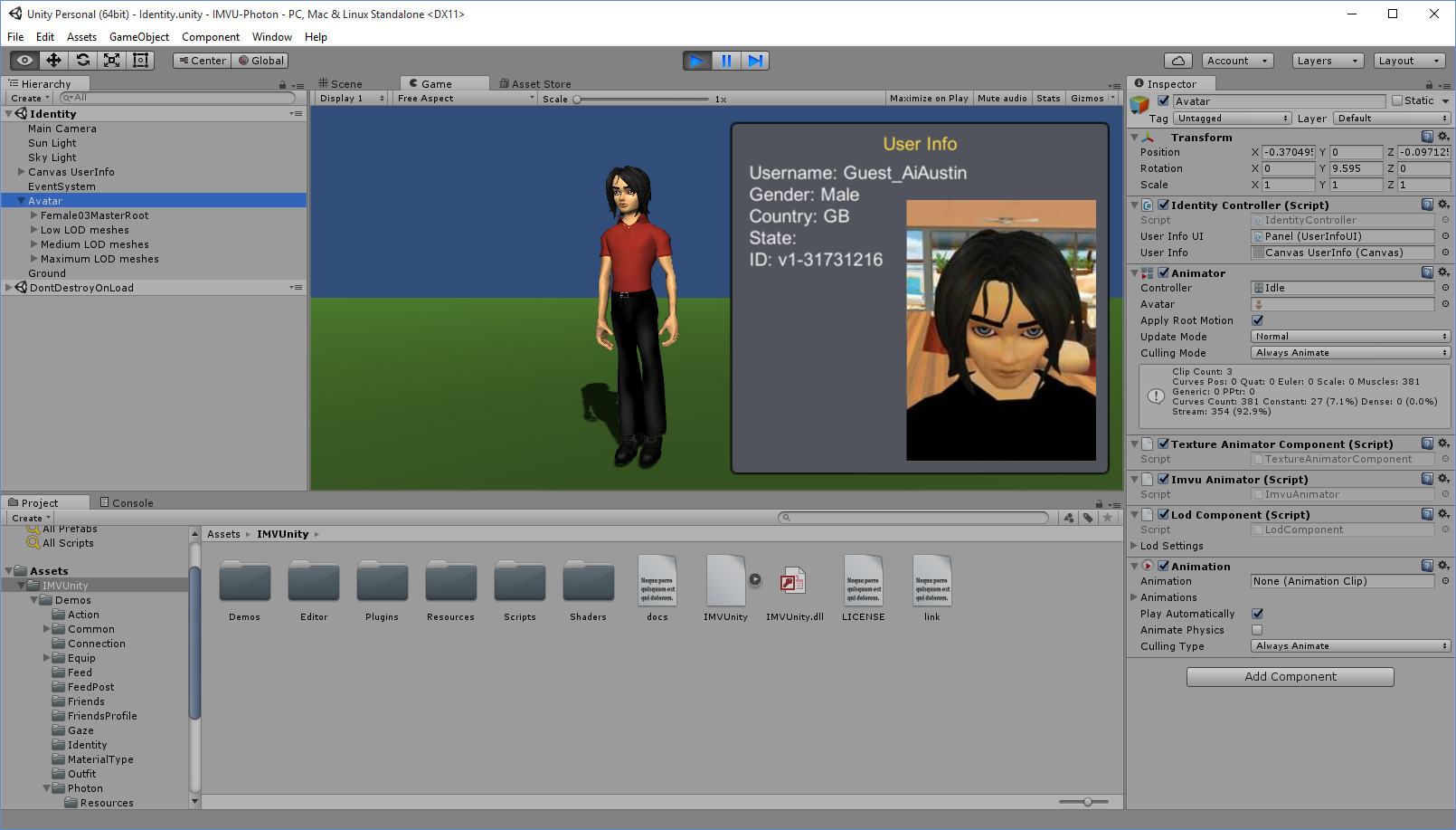 Unity, Photon MMO and IMVU Avatars | Austin Tate's Blog