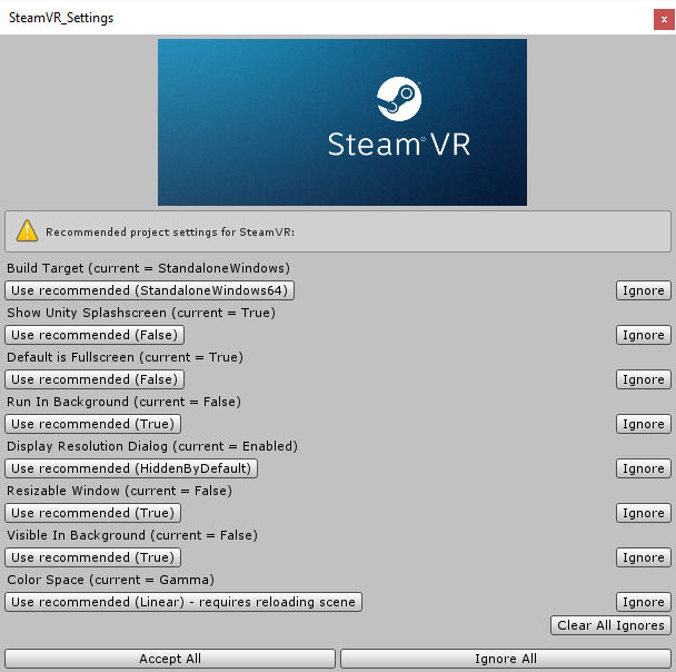 SteamVR-Plugin-Settings-Recommendations