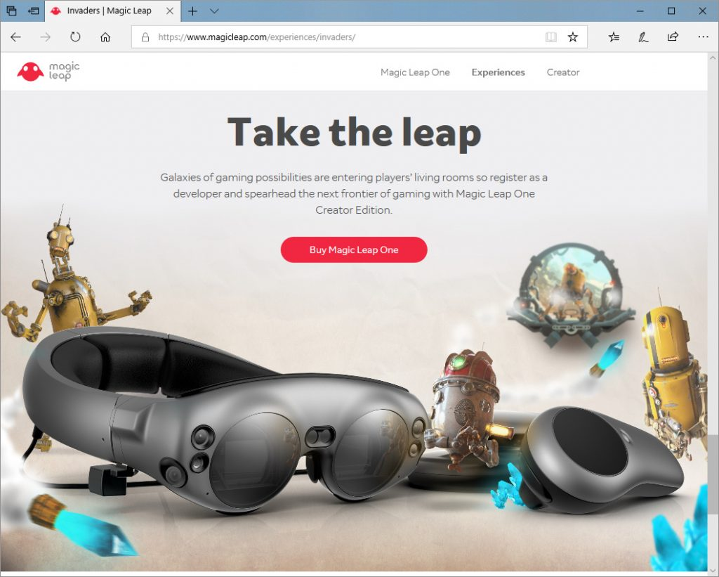 Image from Web Site for Magic Leap Creators Edition 8/8/2018