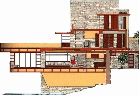 Fallingwater Cross-section
