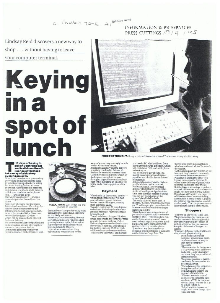 Edinburgh Evening News 1995-04-29 Lindsay Reid Internet Shopping