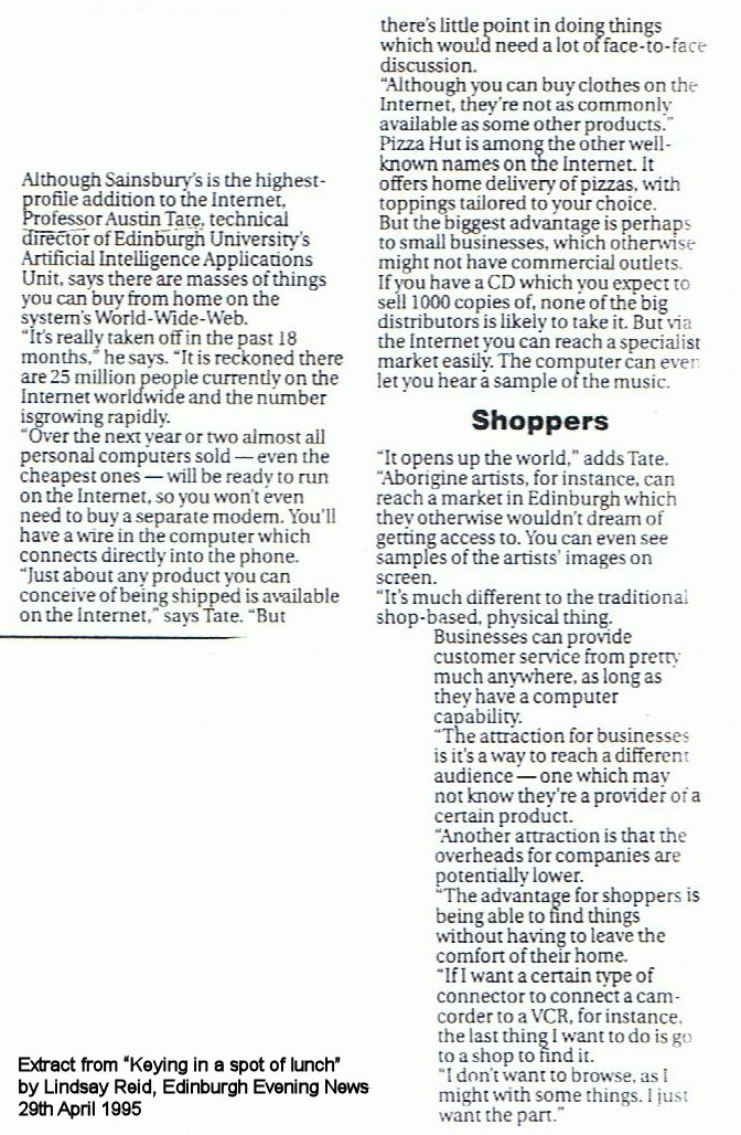 Edinburgh Evening News 1995-04-29 Lindsay Reid Internet Shopping - Extract