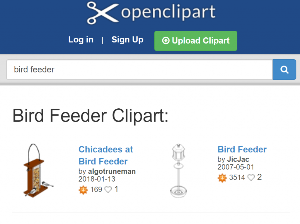 "Screenshot of openclipart search results for ""bird feeder"""