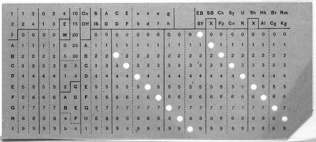 Photograph of a Hollerith punched card