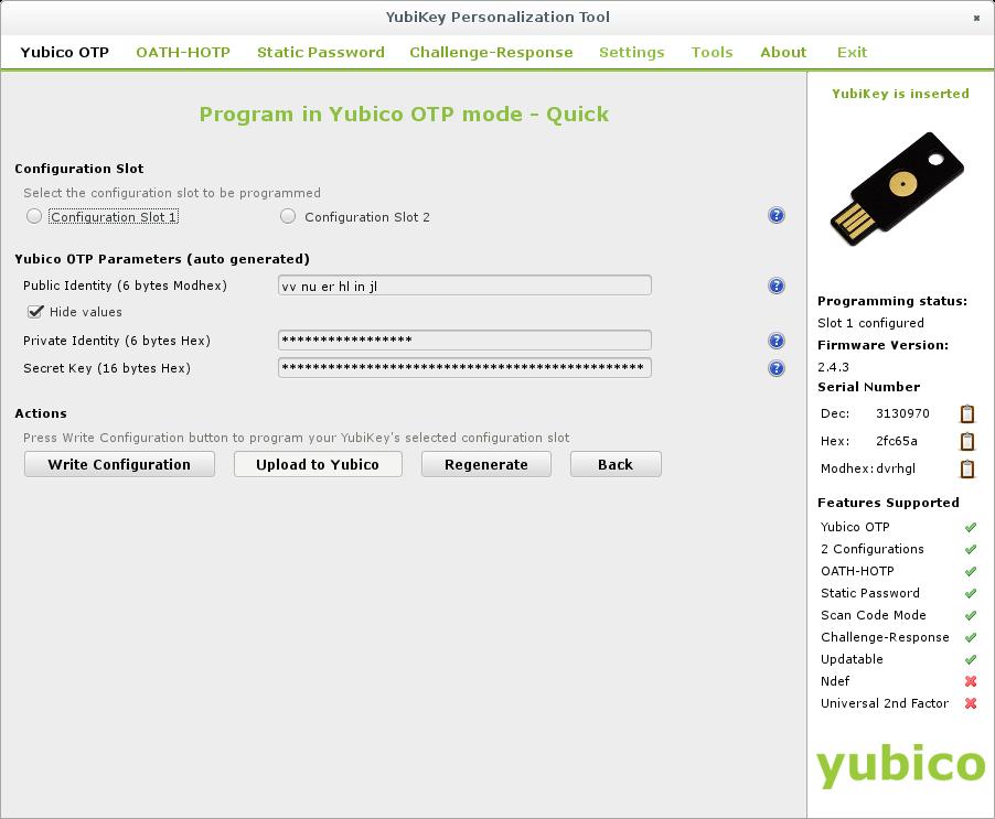 yubikey-personalization-gui - OTP Quick configuration