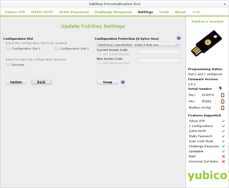 yubikey-personalization-gui - Settings