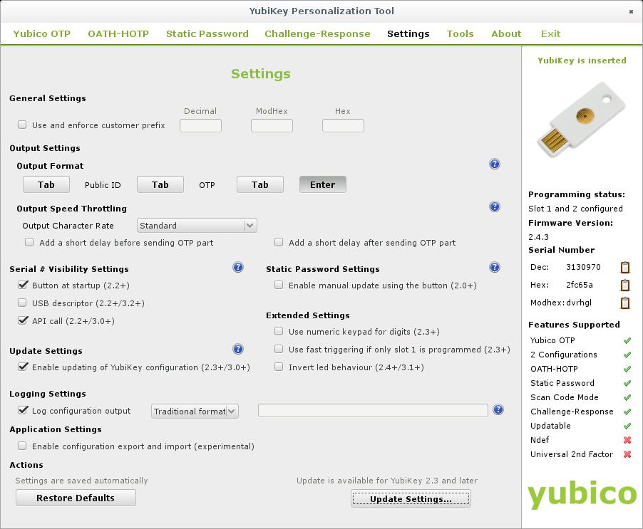 yubikey-personalization-gui - Settings