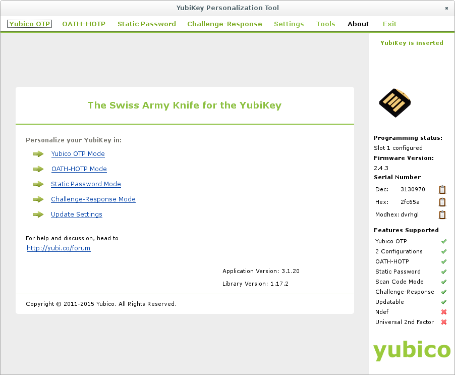 Using the 'Cross-platform Yubikey Personalization Tool' to