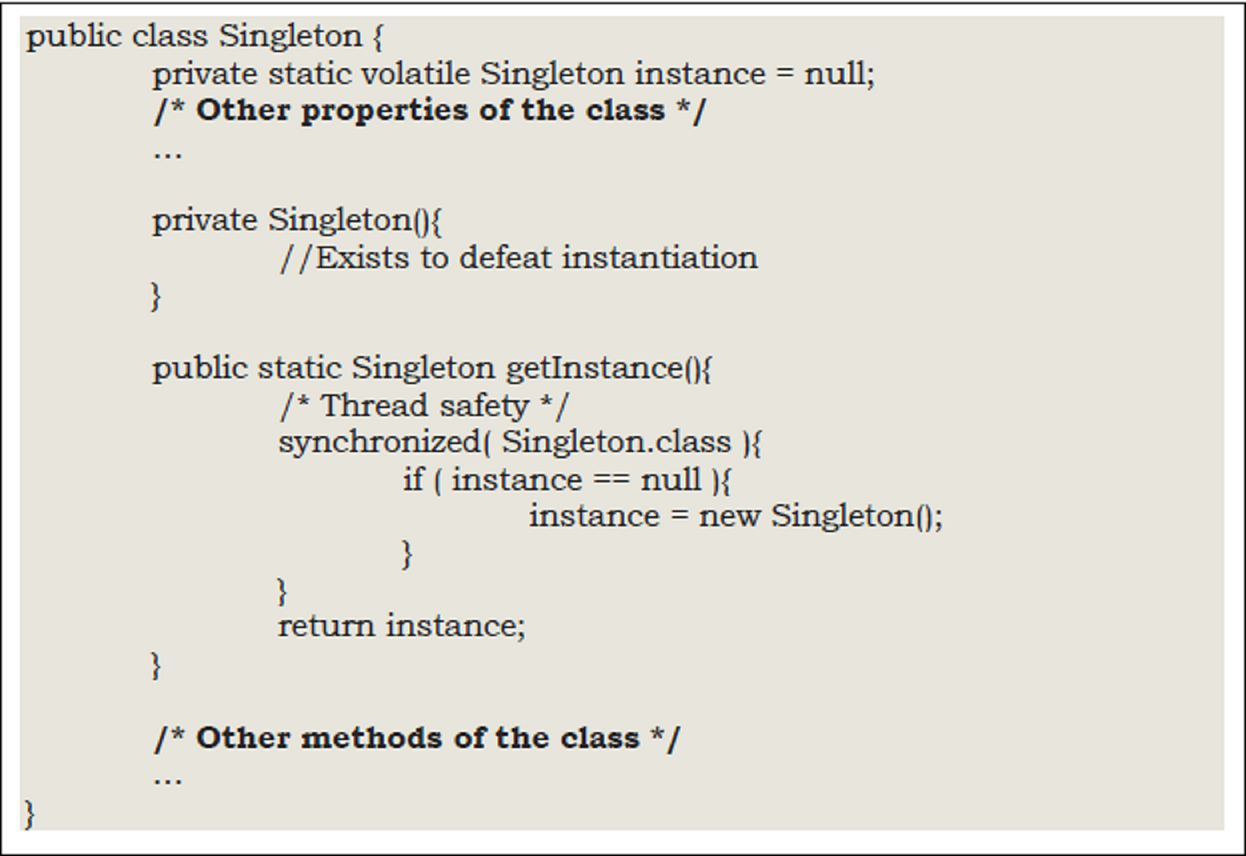 create singleton class in java