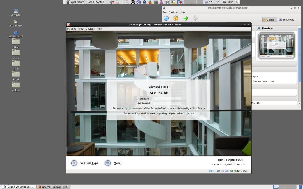 Screenshot of Virtual DICE running on a DICE machine