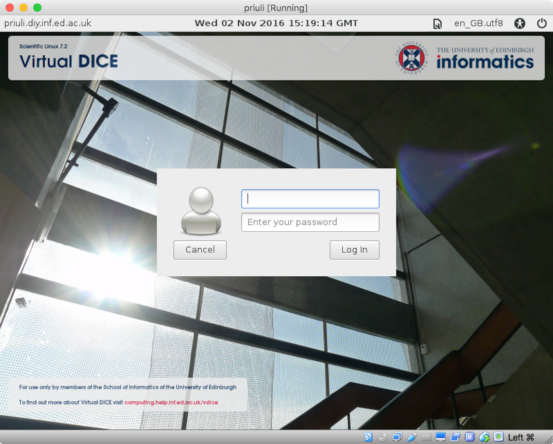 Virtual DICE login screen